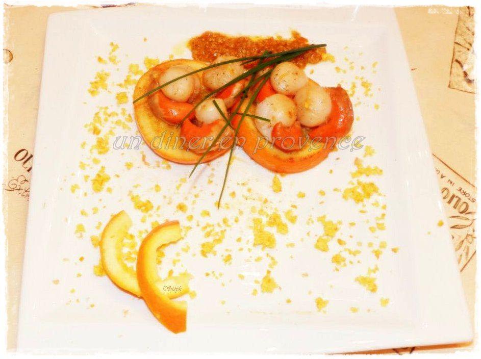 Coquille Saint-Jacques sur lit d'orange