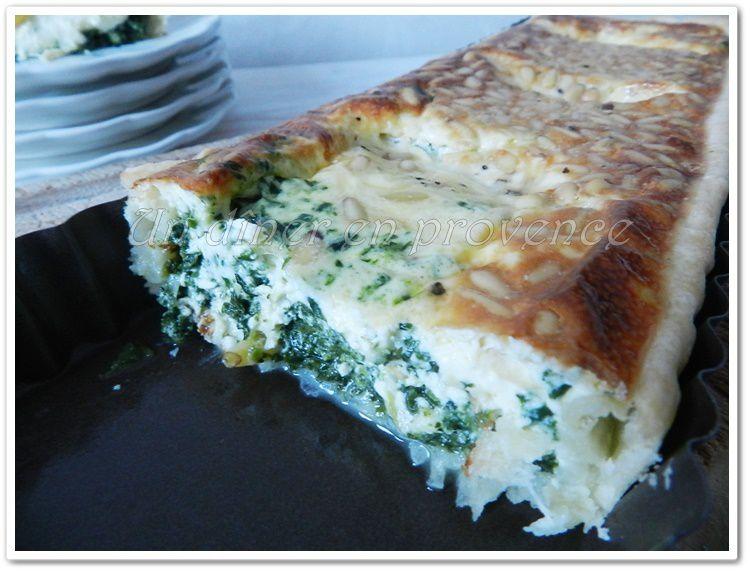Tarte allégée aux épinards, mozzarella et pignons de pin