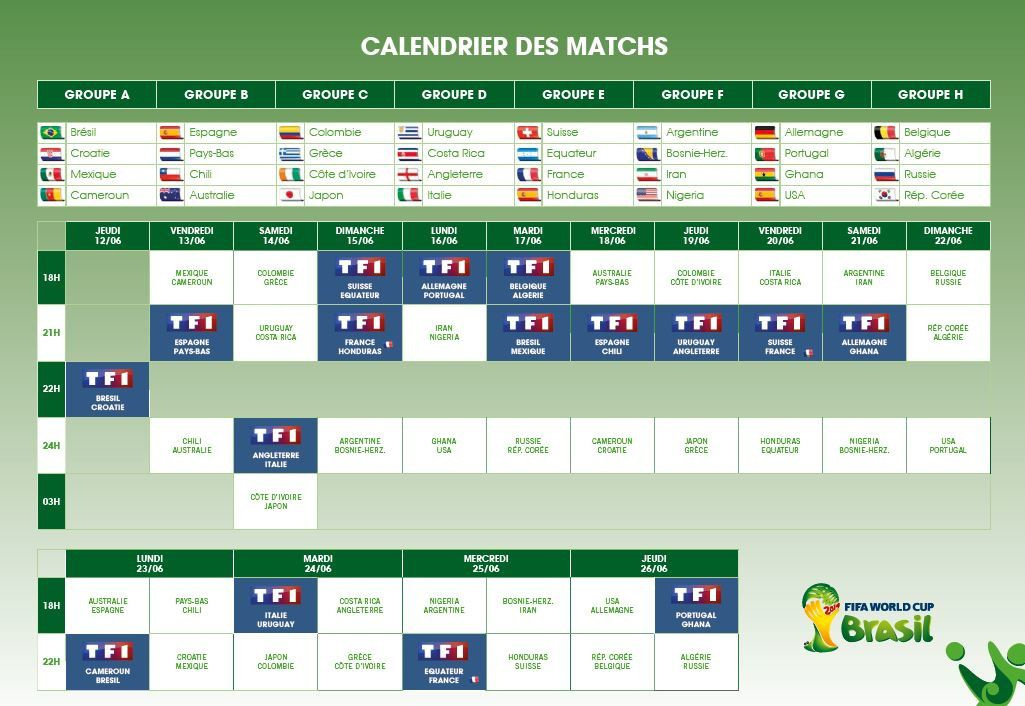 Coupe du monde de la fifa 2014 le dispositif complet de tf1 le blog news programmes t l - Tableau final coupe du monde 2014 ...