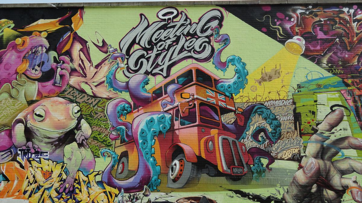 Street Art : Graffitis &amp&#x3B; Fresques Murales district Shoreditch London