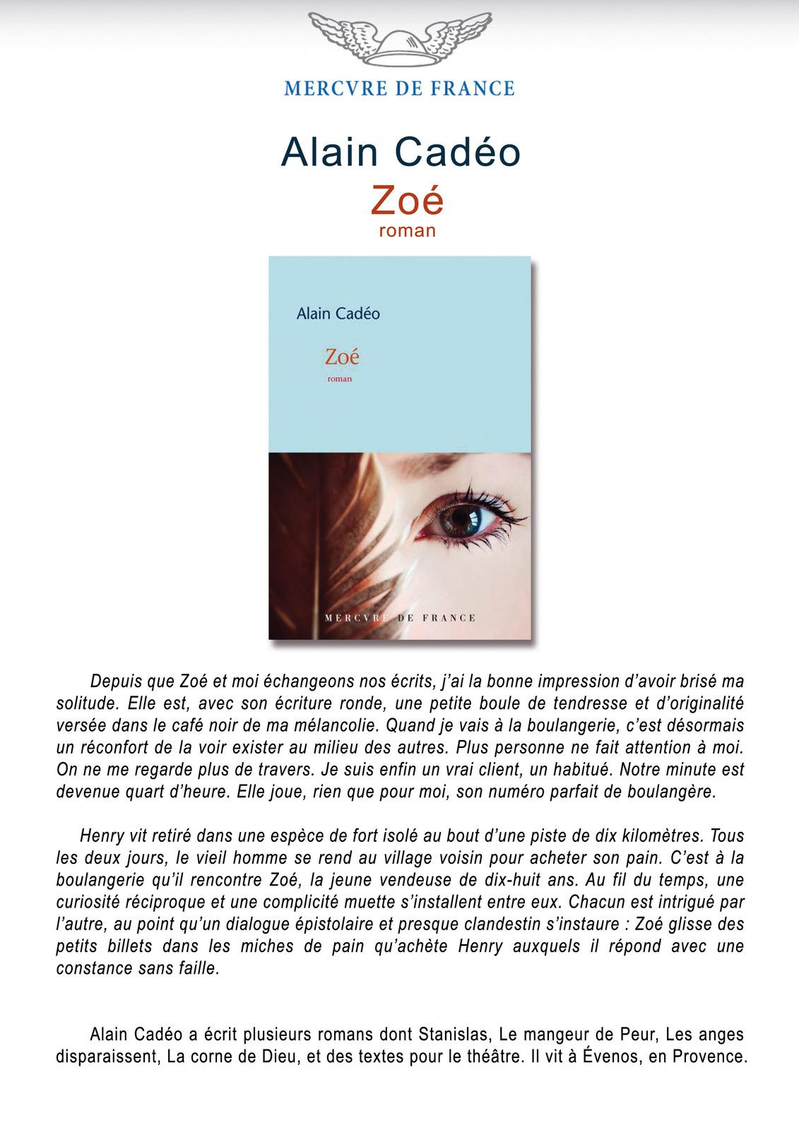 Zoé - Alain Cadéo - Editions Mercure de France