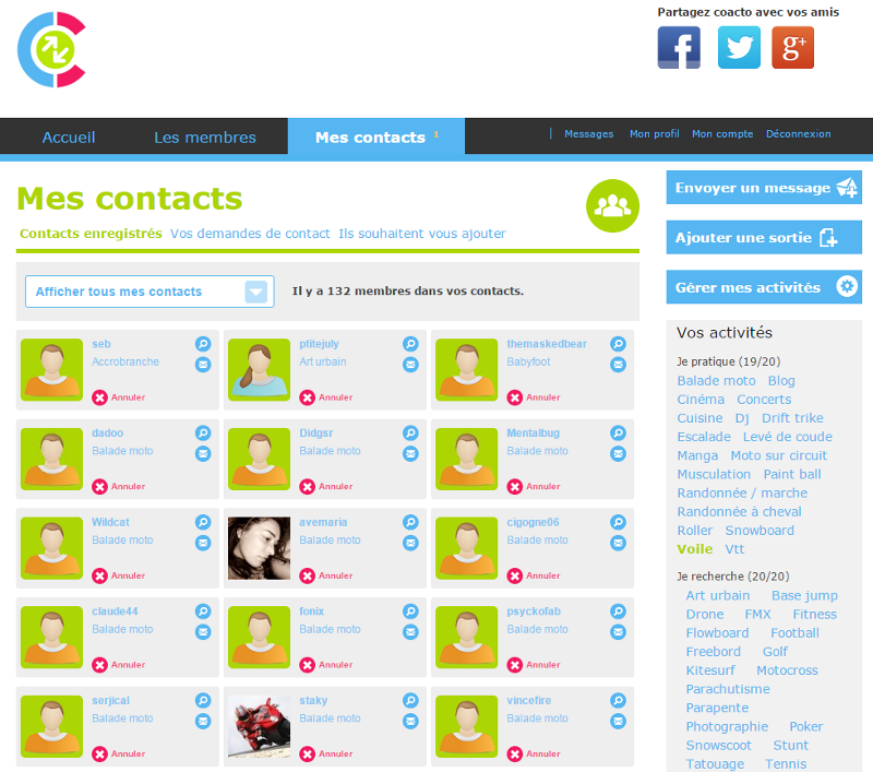 COACTO - Mes contacts