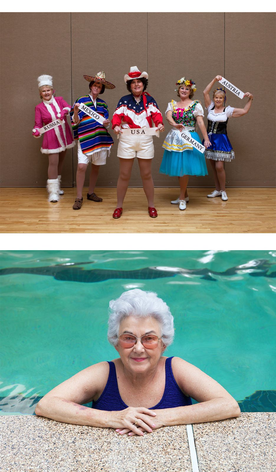 © Marion Gambin - «Les Rythms Tappers de Sun City West, Arizona, USA, 2013» - Benita Mc Ginn (81 ans) à la piscine du Beardsley recreation center, Arizona, USA, 2013
