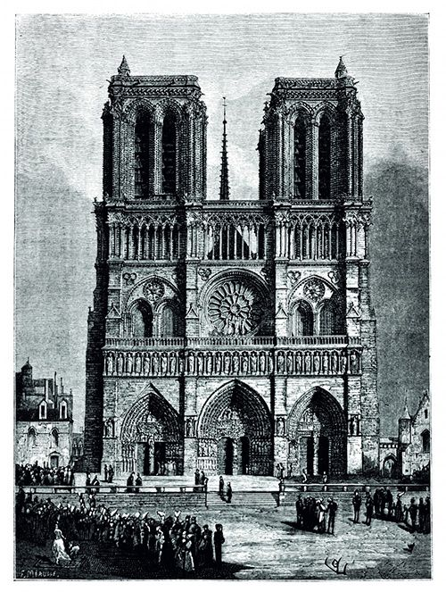 cathedrale notre dame de paris illustration manuscrit original