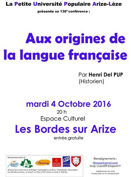 Aux origines de la langue française Henri Del Pup