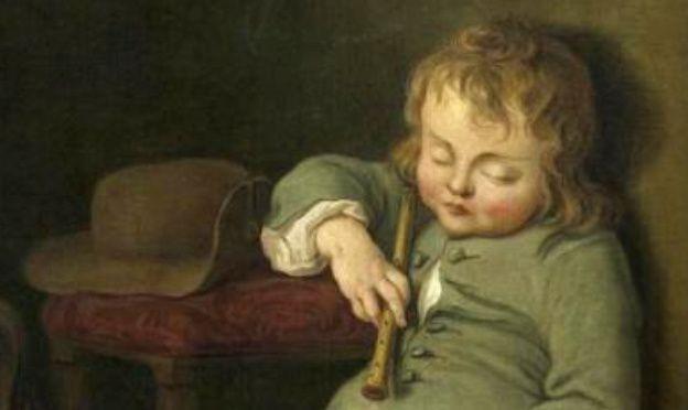 Enfant endormi, école française XVIIIe siècle, détail
