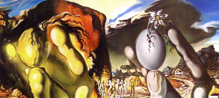 Salvator Dali (1904-1989, Métamorphose de Narcisse, détail