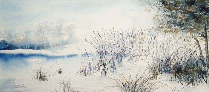 Lumière hivernale, détail, aquarelle d'Albert Hartweg