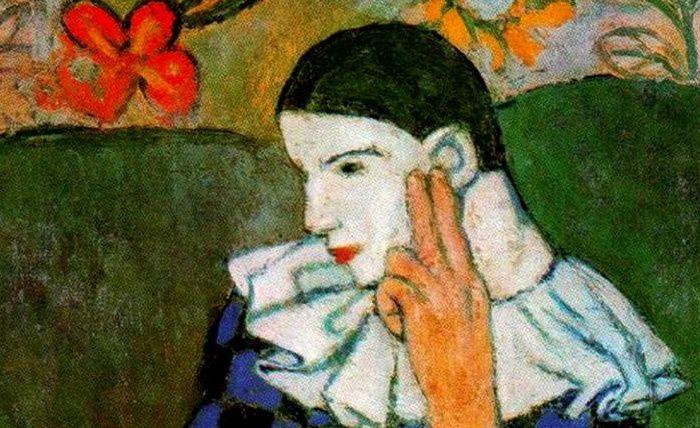 Pablo Picasso, (1881-1973), Arlequin accoudé, détail