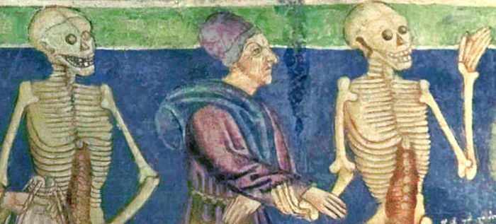 Danse macabre à Hrastovlje, en Istrie ( XIIe siècle) : la mort et l'usurier, détail