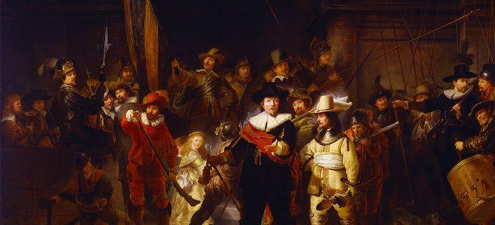 Rembrandt Harmenszoon van Rijn, (1606-1669), La ronde de nuit, détail