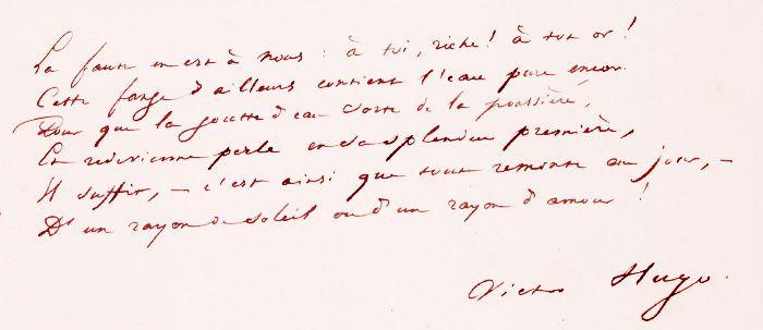 """Victor Hugo (1802-1885) manuscrit, """"Oh ! N'insultez jamais une femme qui tombe !"""",1835, extrait"""