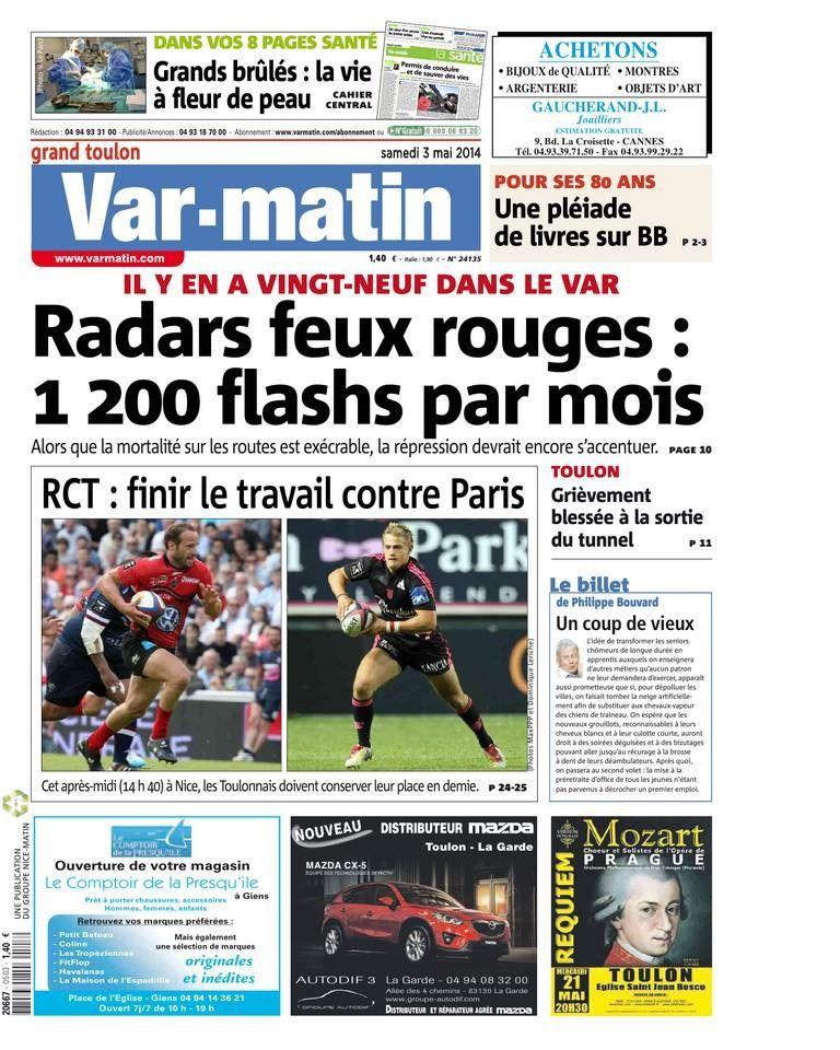 Couverture du Var matin du 03 05 2014