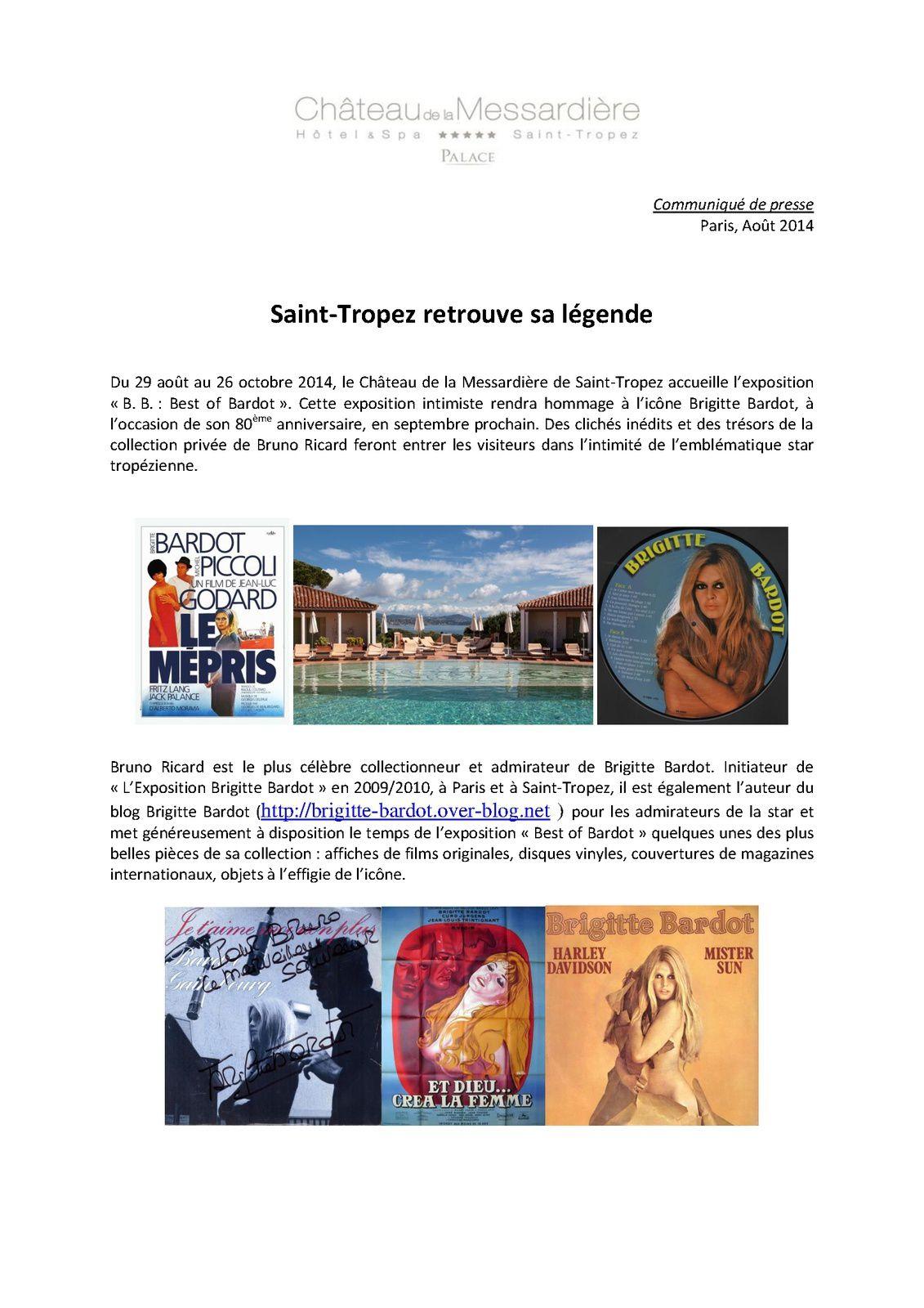 Brigitte Bardot Communiqué de presse exposition &quot&#x3B;Best of BB&quot&#x3B;