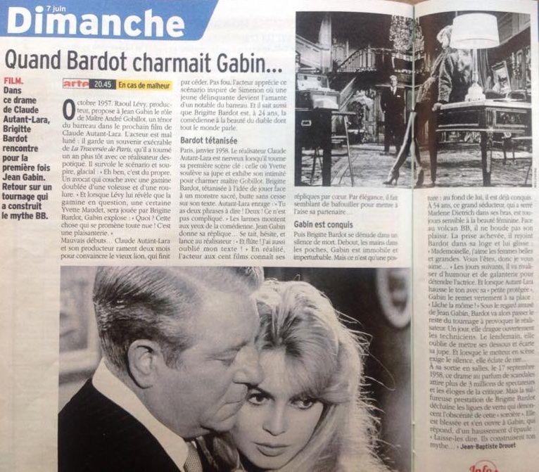 Brigitte Bardot Dimanche sur ARTE dans le film &quot&#x3B;En cas de malheur&quot&#x3B;