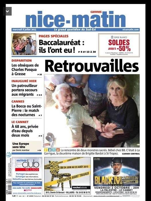 Brigitte Bardot reçoit Jean-Paul Belmondo à la Garrigue..