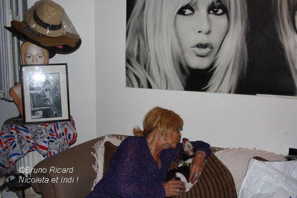 Brigitte Bardot...Ils posent devant sa photo...