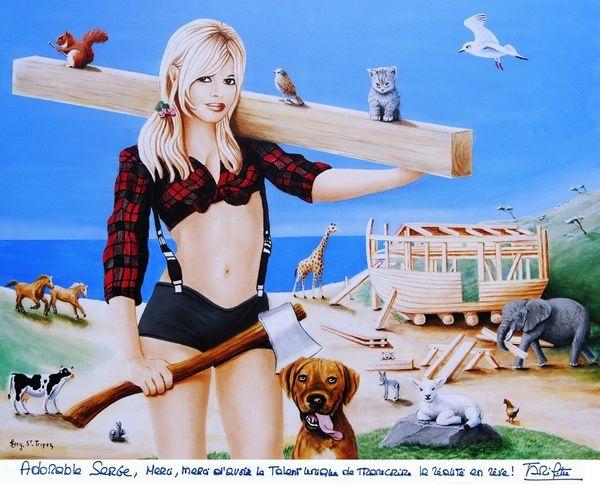 Brigitte Bardot et Serge le peintre de Saint-Tropez