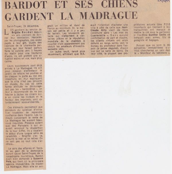 Brigitte Bardot...articles de presse du passé...1969