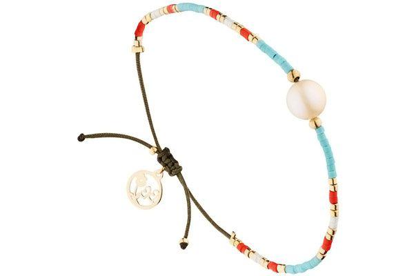 Bracelet cordon et perle : Prix 36 €