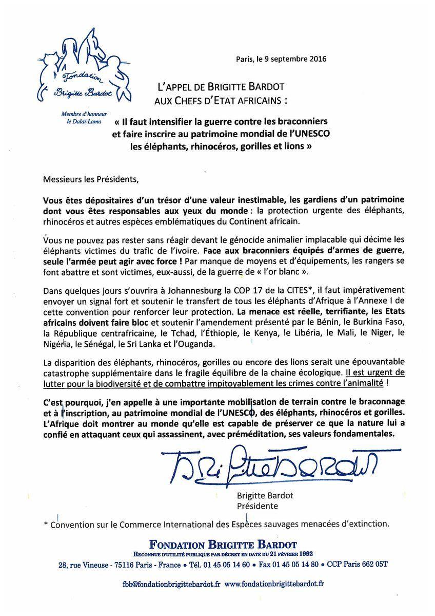 L'appel de Brigitte Bardot aux chefs d'Etat africains pour lutter contre les braconniers