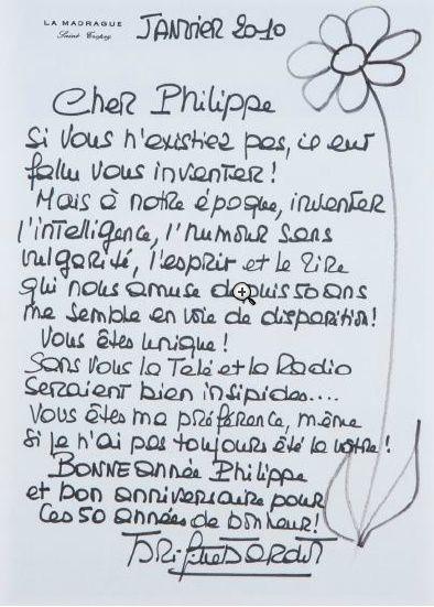 Lettre Brigitte Bardot à Philippe Bouvard : Prix obtenu : 1200 euros sans les frais !