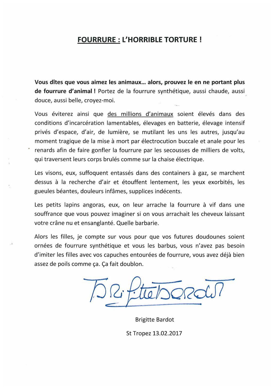 Brigitte Bardot : Vous aimez les Animaux ? Alors ne portez plus de fourrure