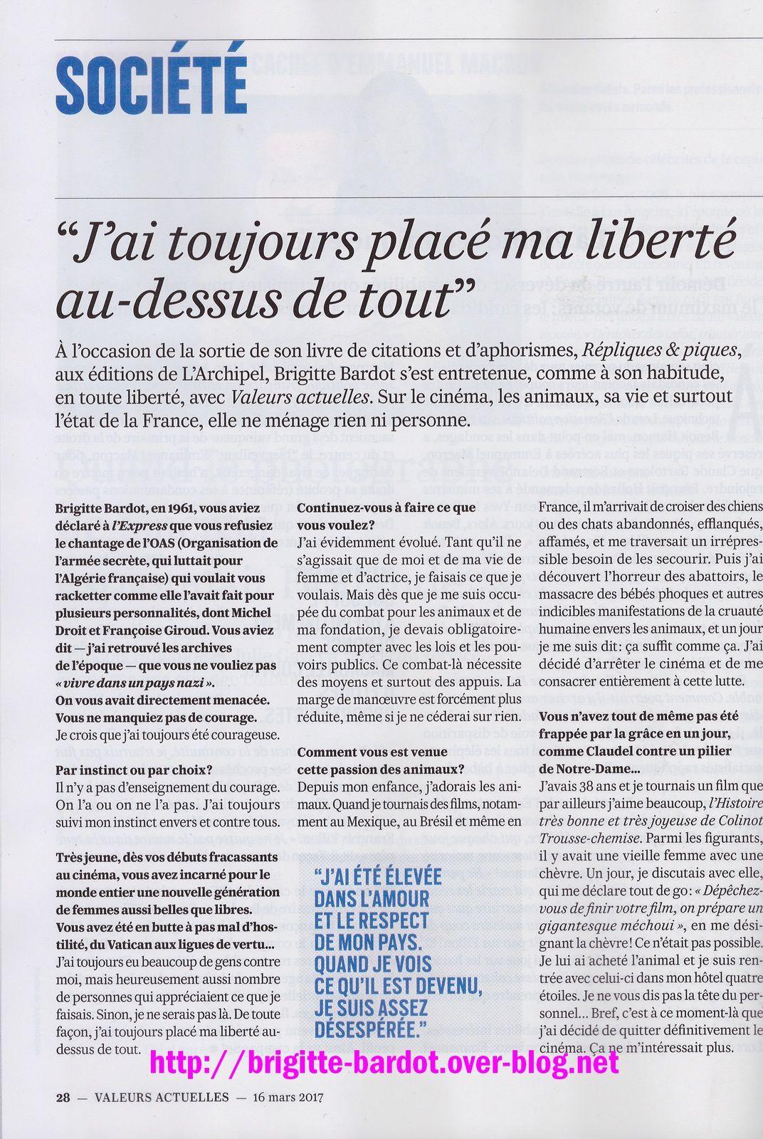 Brigitte Bardot dans Valeurs Actuelles n°4190 du 16 au 22 03 2017