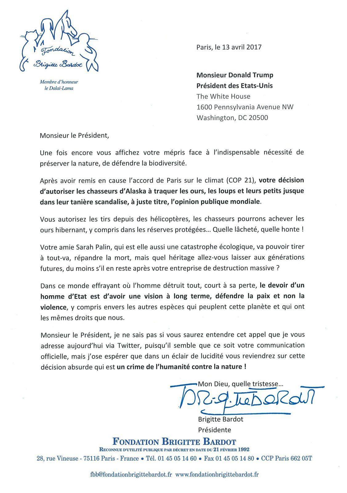 Brigitte Bardot : Coup de gueule contre Trump !