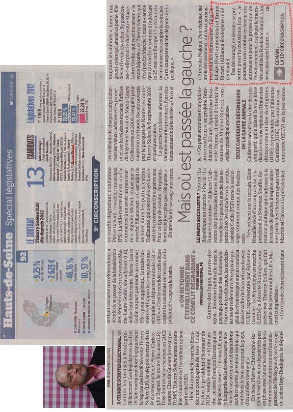 Journal le Parisien du 31 05 2017...élections législatives 9ème circonscription des Hauts-de-Seine