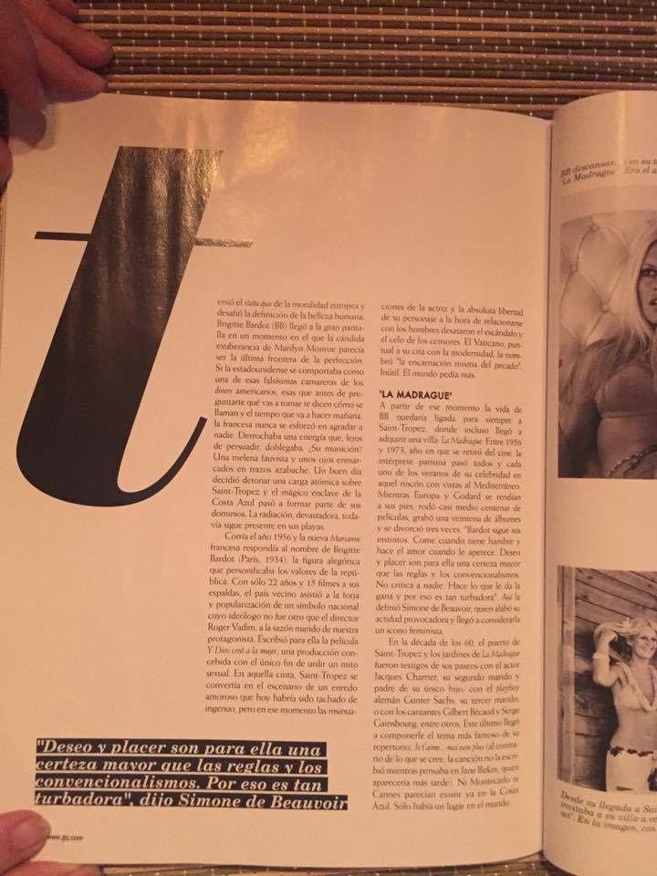 Brigitte Bardot dans &quot&#x3B;CQ&quot&#x3B; n°234 de juillet/août 2017 (Espagne)...