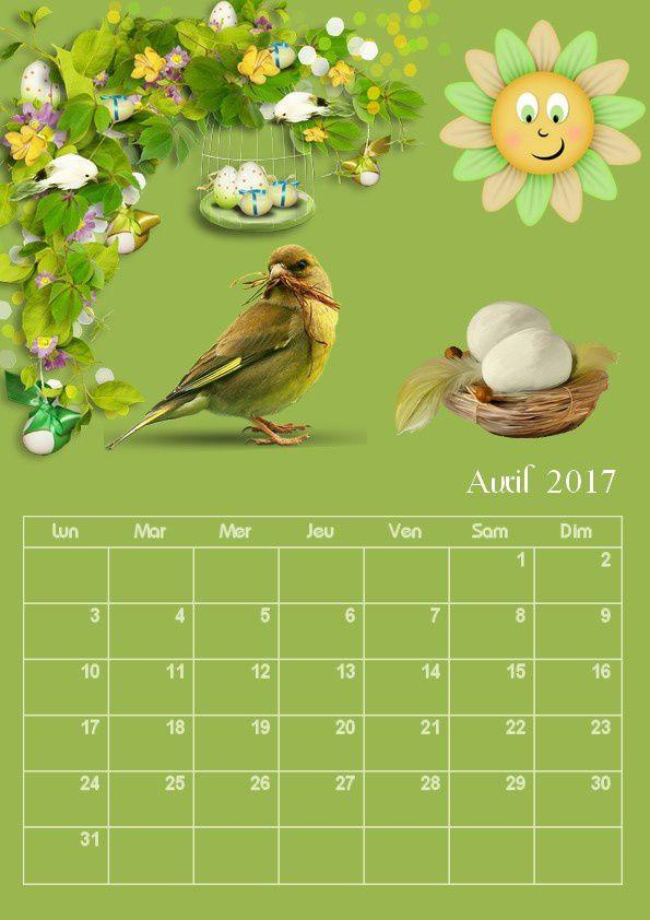 Calendrier mensuel avril 2017