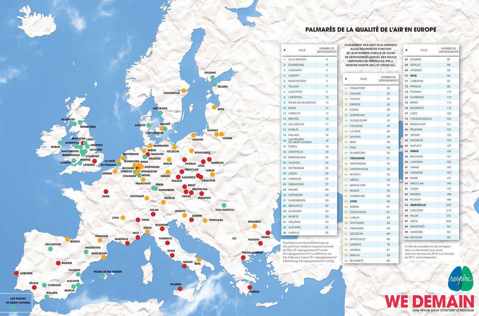 carte europe qualite de l'air
