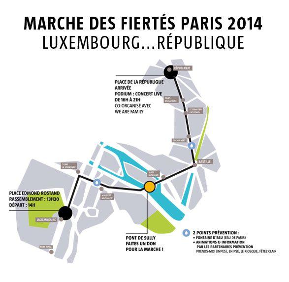 Parcours de la gay pride à Paris ce samedi 28 juin (et ordre des chars).