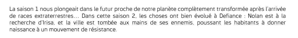 Defiance 2 : diffusion française chaque mardi dès ce 2 septembre.