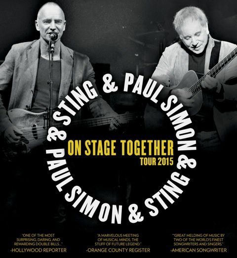 Paul Simon et Sting en concert ensemble au Zénith de Paris.
