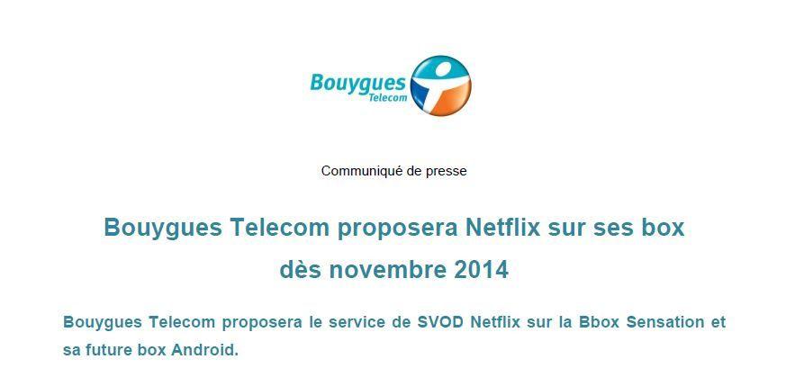 Bouygues Telecom proposera Netflix sur ses box dès novembre (détails).