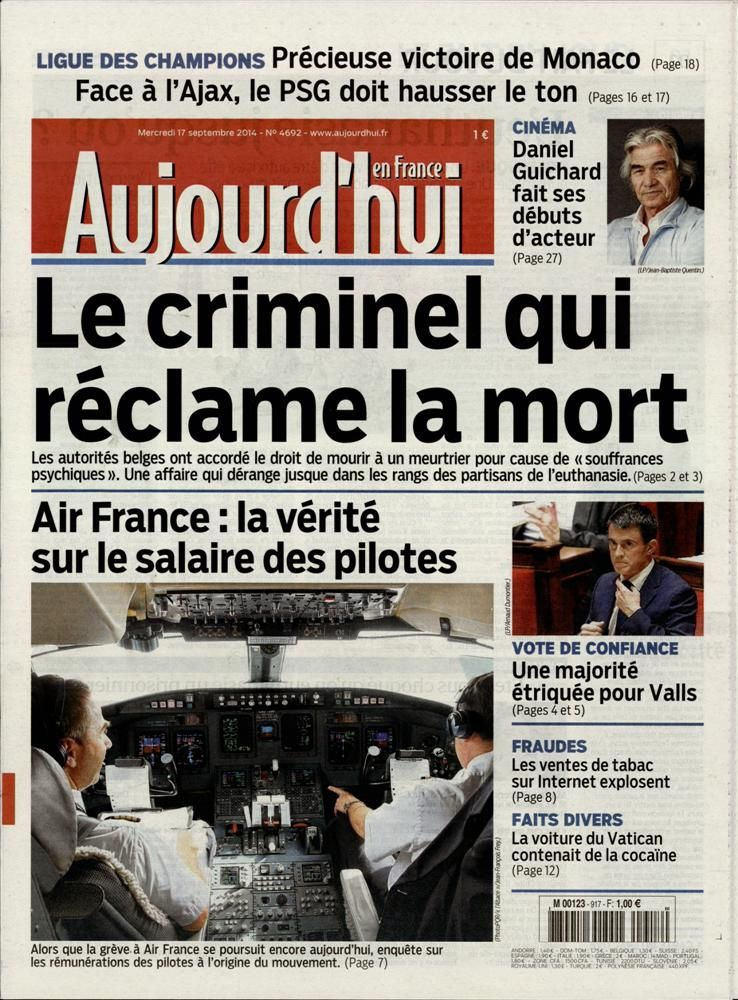 La Une de la presse quotidienne nationale ce 17 septembre.