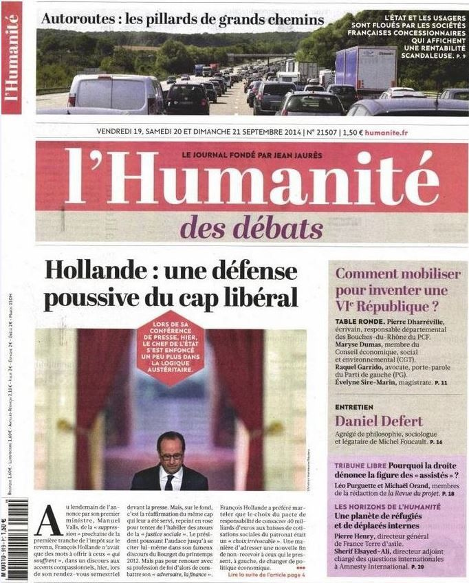 La Une de la presse quotidienne nationale ce 19 septembre.