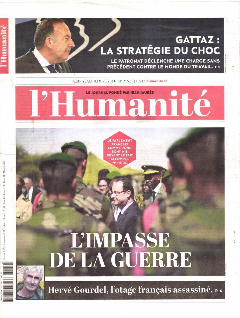 La Une de la presse nationale quotidienne ce jeudi : la barbarie envers Hervé Gourdel.