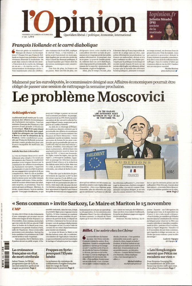 La Une de la presse quotidienne nationale ce 3 octobre.