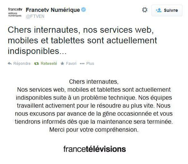 Problème technique sur les sites du groupe France Télévisions.