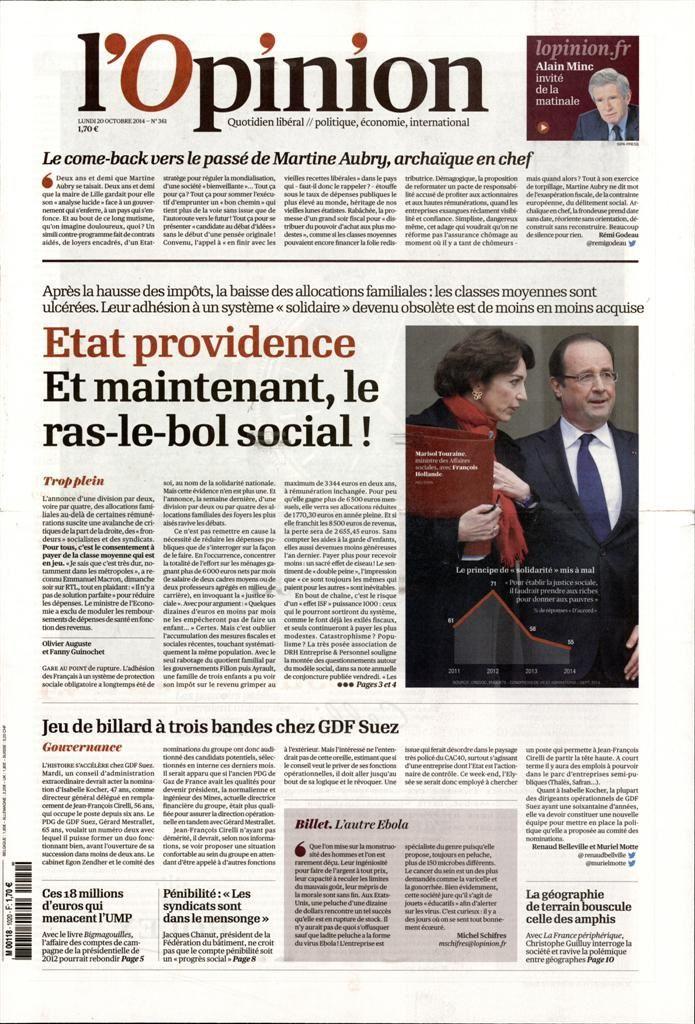 La Une des quotidiens nationaux ce lundi 20 octobre.