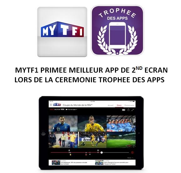 Trophée des Apps : prix de meilleure application de second écran pour MYTF1.