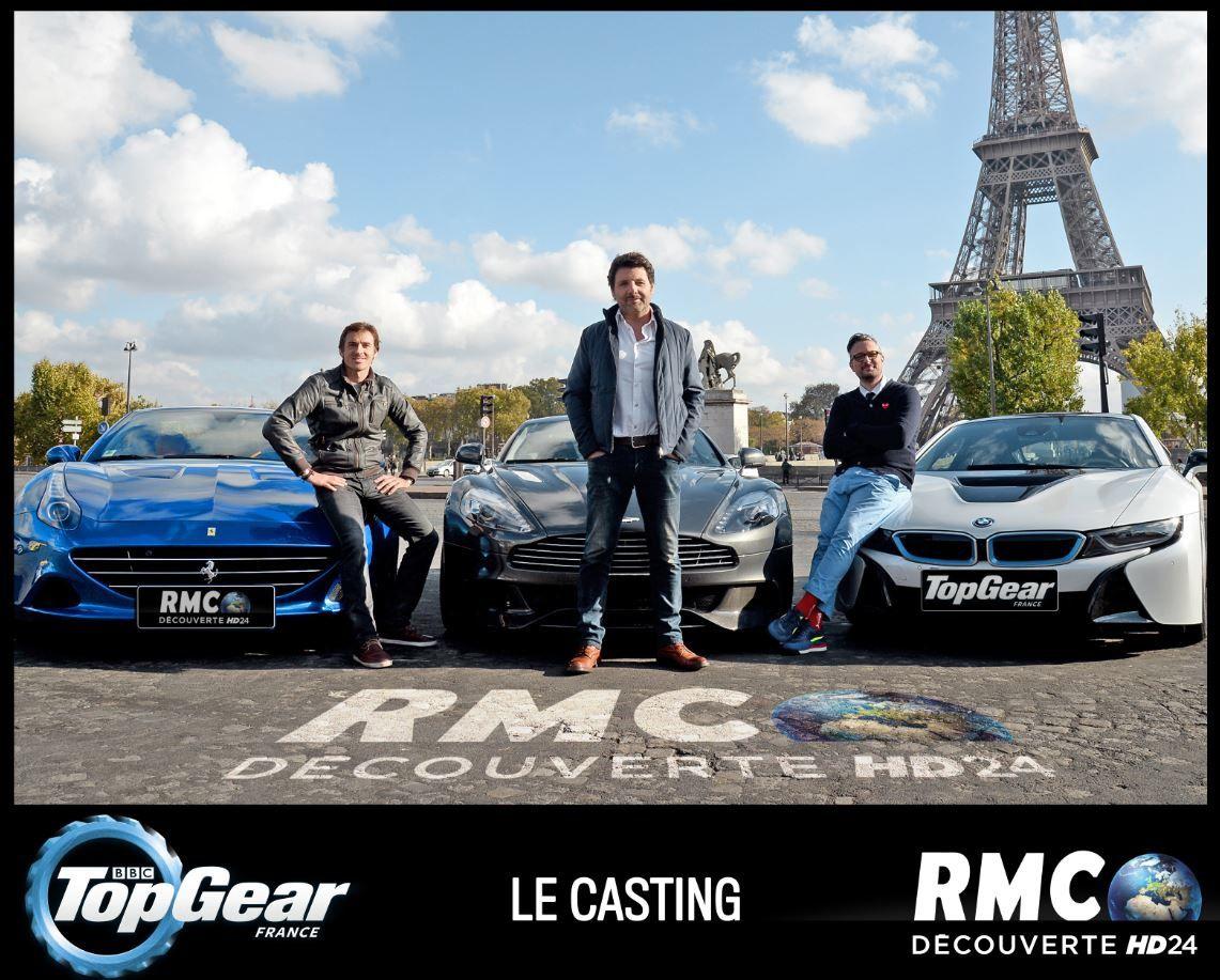 Voici les trois animateurs de Top Gear France, pour RMC Découverte.