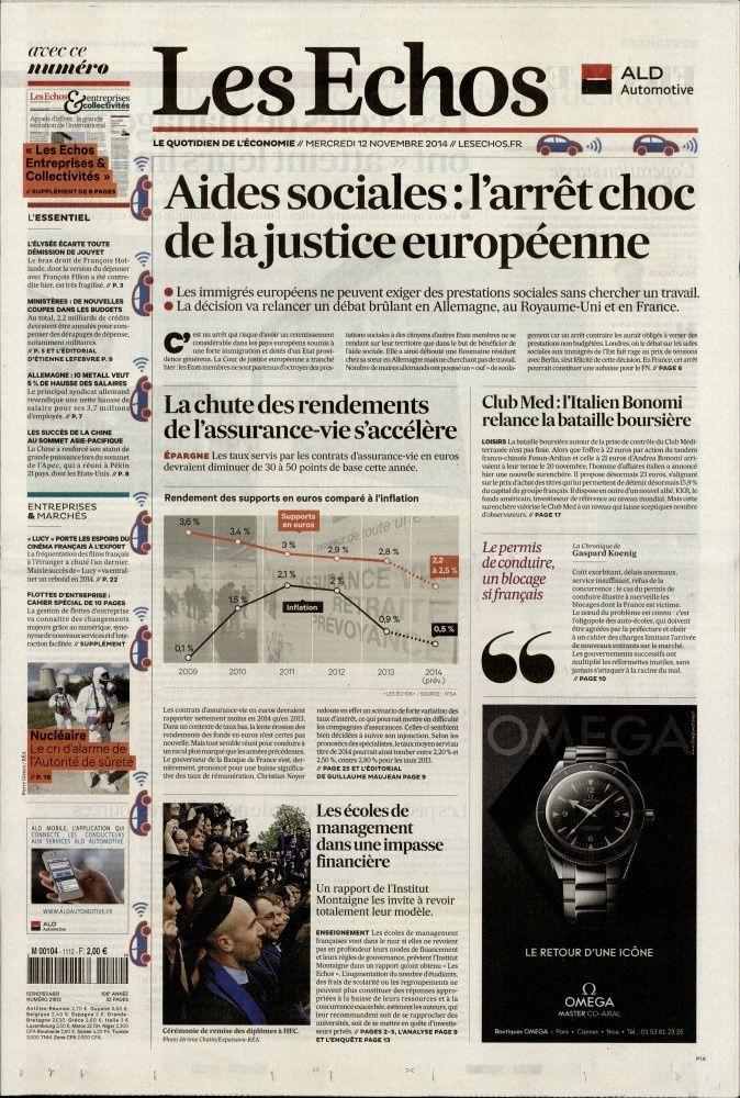 La Une des quotidiens nationaux ce mercredi 12 novembre.