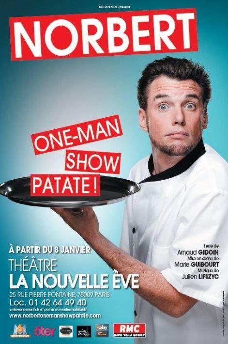 Norbert Tarayre sur scène avec One-Man Show Patate : locations ouvertes.