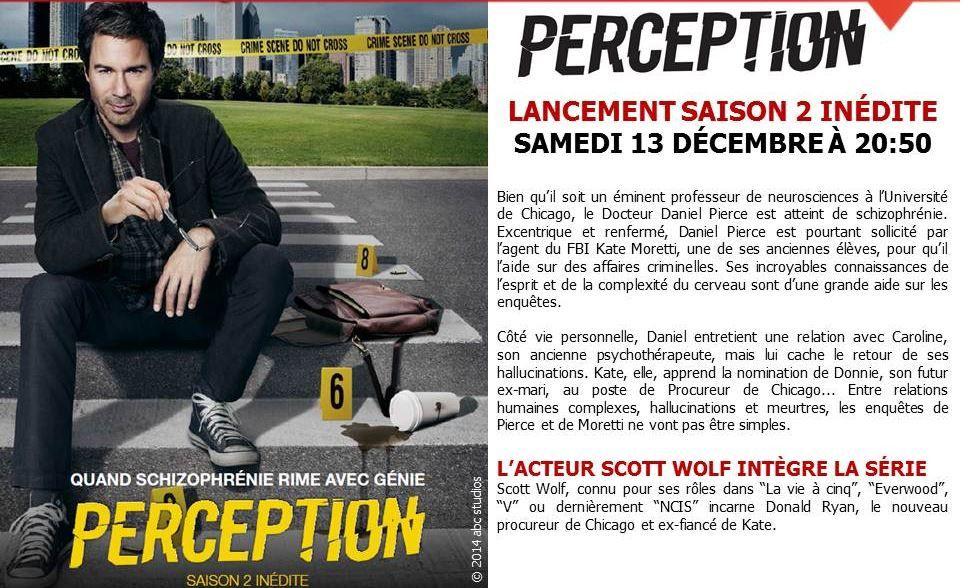 Saison 2 de Perception dès le 13 décembre sur M6 (4 épisodes).