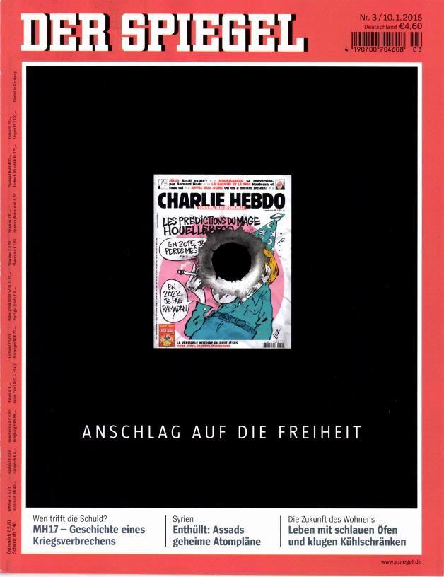 Charlie Hebdo : la Une très forte de l'hebdomadaire Spiegel en Allemagne.