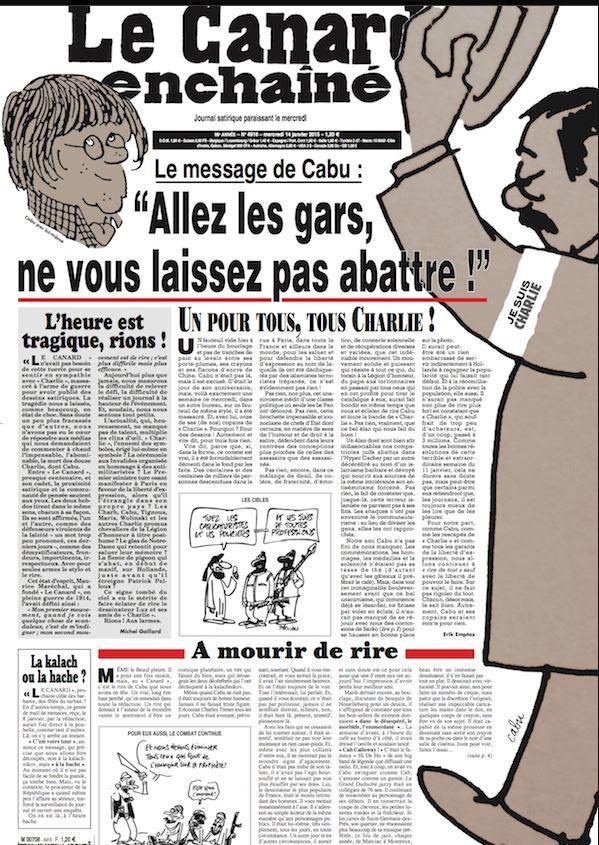 La Une du Canard enchaîné du 14 janvier, spécial Charlie Hebdo.